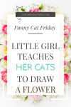 little girl teaches her cats to draw a flower