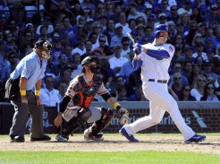 Sep 2, 2016; Chicago, IL, USA; Chicago Cubs first baseman Anthony Rizzo (44) hits a double against the San Francisco Giants during the eighth inning at Wrigley Field. Mandatory Credit: David Banks-USA TODAY Sports
