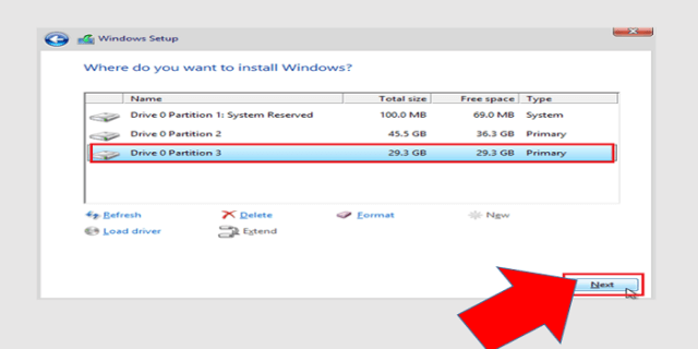 windows installation partition select