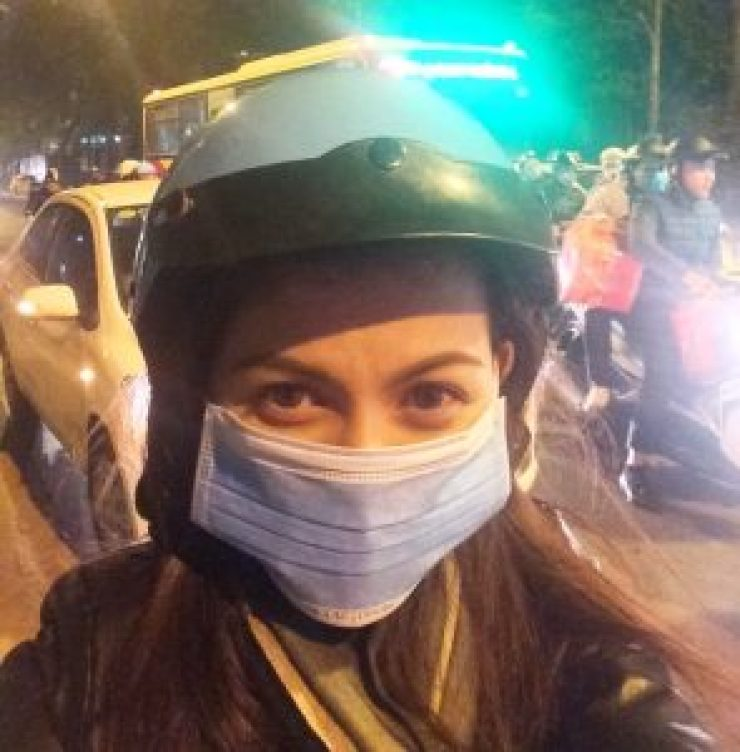 Me while on an Uber Motorbike Ride in Vietnam | catching carla