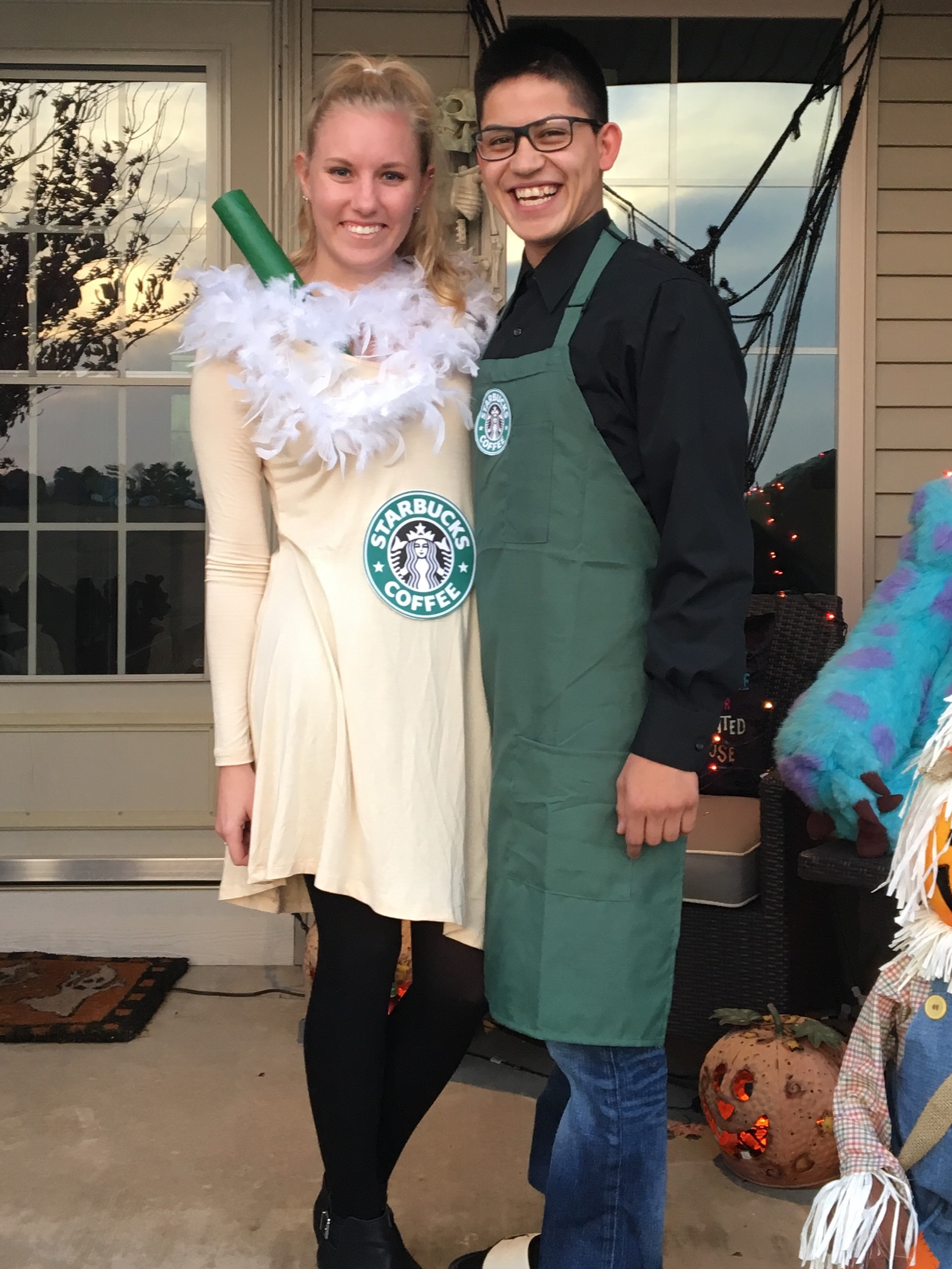 this year i went as a starbucks drink and miguel as a barista it was a pretty easy and cheap costume i already owned most of the stuff and hereu0027s how