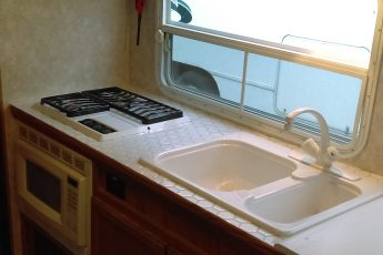 Stove, Counter, and sink in an RV
