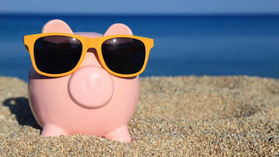 Summer piggy bank with sunglasses on the beach;abundant; background; bank; banking; beach; business; buy; cheap; commercial; concept; cost; crisis; deposit; discount; economic; economy; finance; financial; happy; holidays; investment; low; market; money; offer; outlet; pig; piggy; price; profit; retail; rich; sale; sand; save; savings; sea; seasonal; selling; shop; summer; sun; sunglasses; symbol; tax; travel; vacation; wealth; welfare