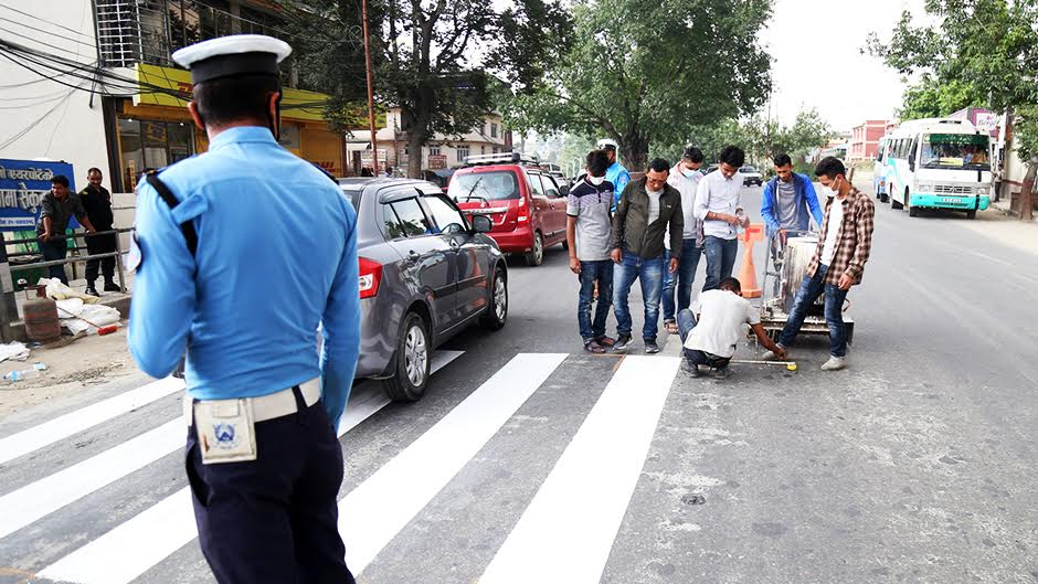 New zebra crossings in Kathmandu Valley. Image Source: Lokantar