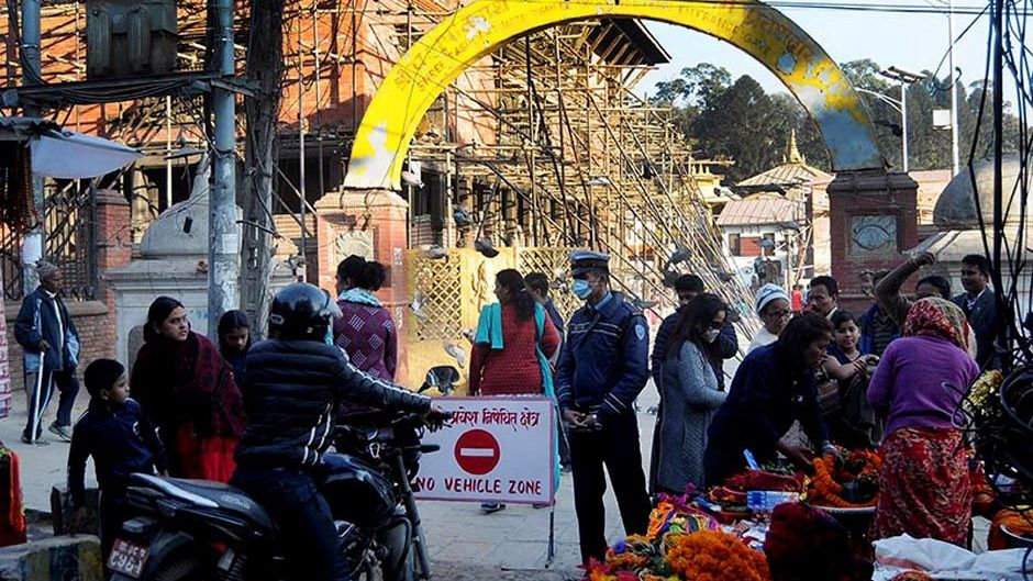 Pashupatinath Area Declared Vehicle-Free Zone From Yesterday. Image Source: The Himalayan Times