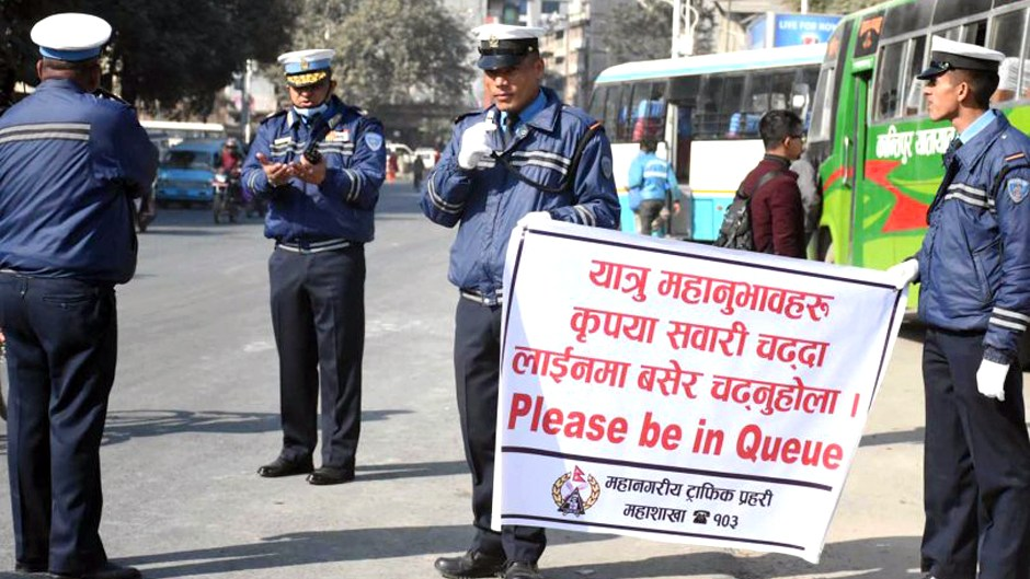 Queue system for passengers in Kathmandu. Image Credit : Recent Nepal