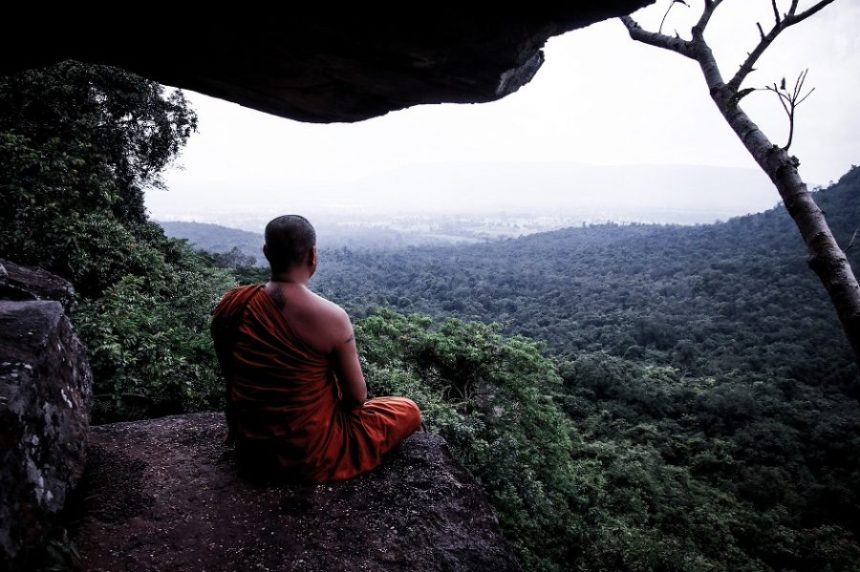 A monk meditating