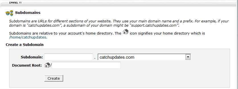 Create Subdomain using cPanel 2