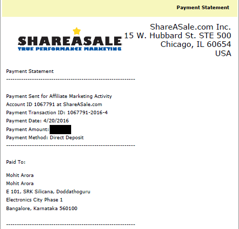 ShareAsale Affiliate Program payout