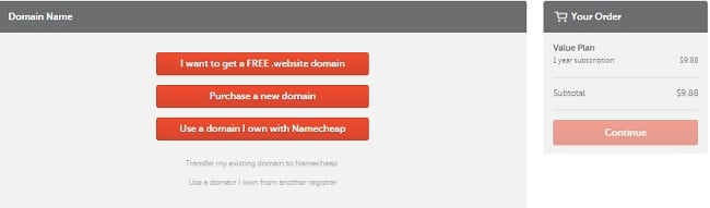 NameCheap Coupons - Selecting domain