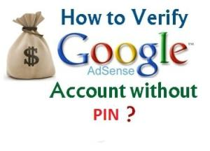 Verify Google Adsense Account without PIN code1