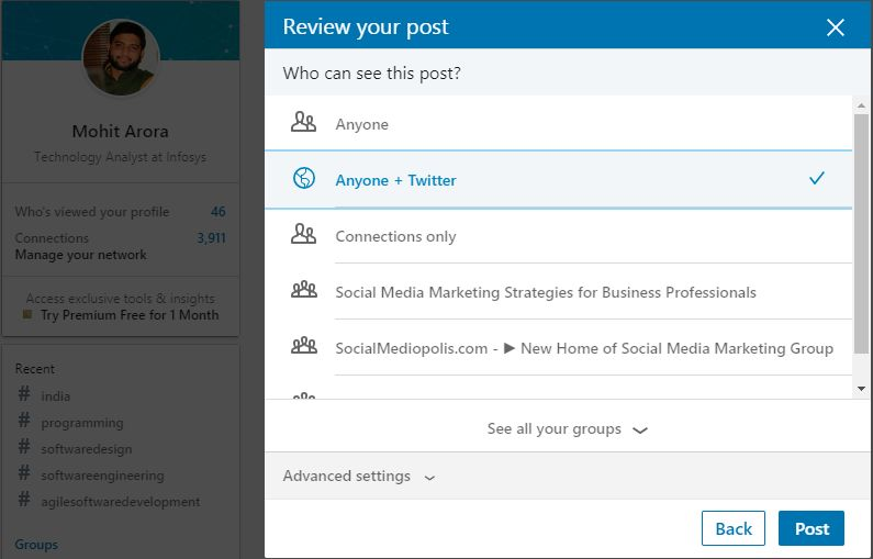Using Linkedin Profile to promote business