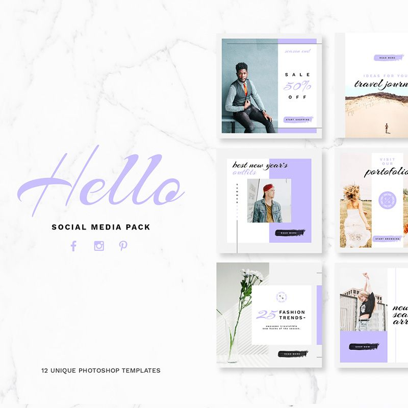 Hello Pack Social Media Template Package
