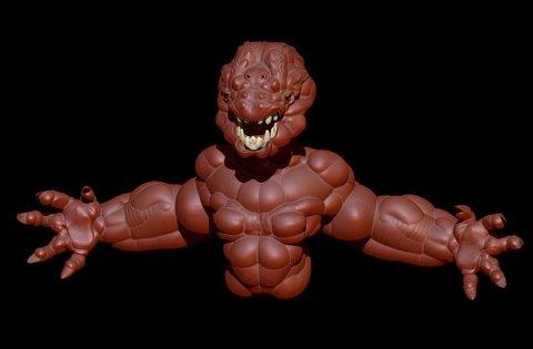 A 3D sculpture of a terrifying creature.