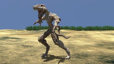 A reptilian creature illustrated in 3D.