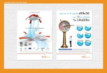 Carteles para Halcón viajes. Halconviajes.com. Carteles promocionales para cruceros. Halconviajes.com promotional posters for sea cruises.