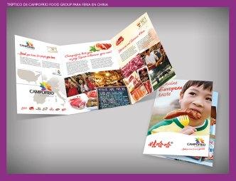 Folleto Campofrío Food Group para feria china. Tríptico diseñado para feria de alimentación en China. A brochure for a food fair in China. Campofrío Food Group.