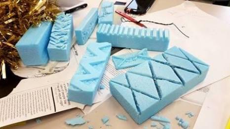 Blue foam patterns.