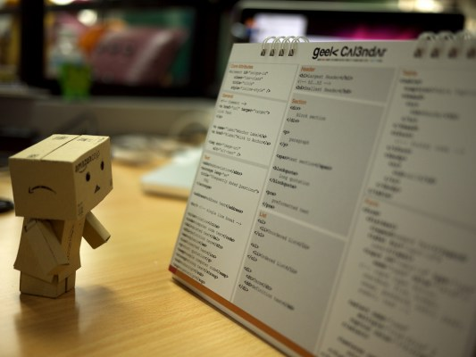 "danbo stands looking at the ""geek calendar"""