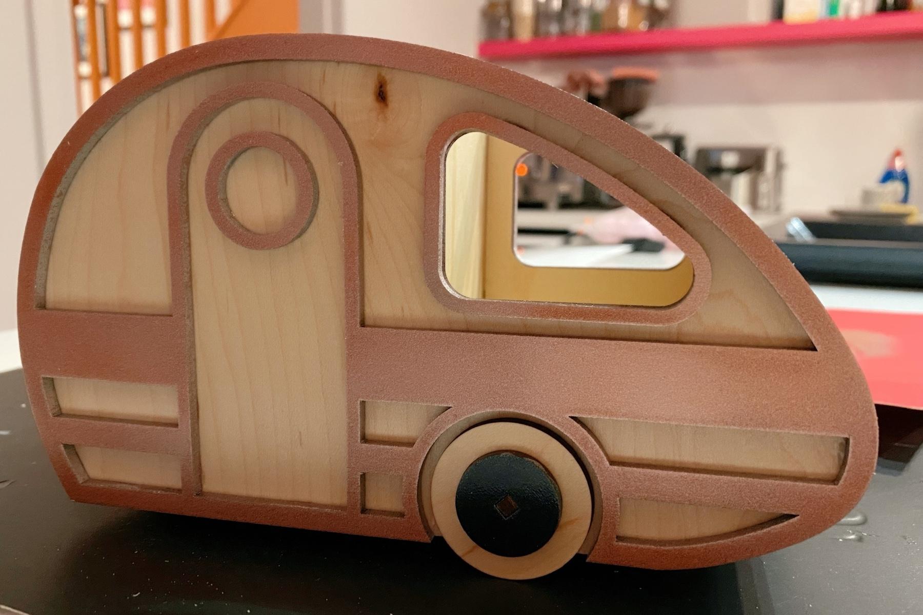 Retro camper van in rose gold