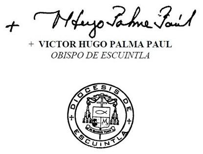Firma Monseñor Víctor Hugo Palma
