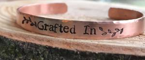 Grafted In copper hammered edge cuff hand stamped. $24