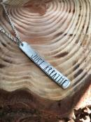 "JUST BREATE hand stamped on silver pewter includes 30"" silver chain. $28"