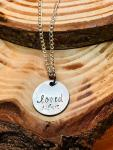 loved hand stamped on silver disc. $28