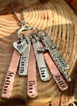 Hand stampe name (or YOUR WORDS) necklace includes cross charm heart charm hand stamped with 2 letters hangs from a beautiful nature inspired charm ring silver and copper. $30, $10 for each additional word bar.