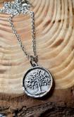 "Sterling silver plated tree of life includes 30"" silver chain. $28"