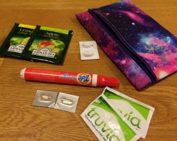 Tea, tide pen, Benadryl, Advil Congestion and Truvia