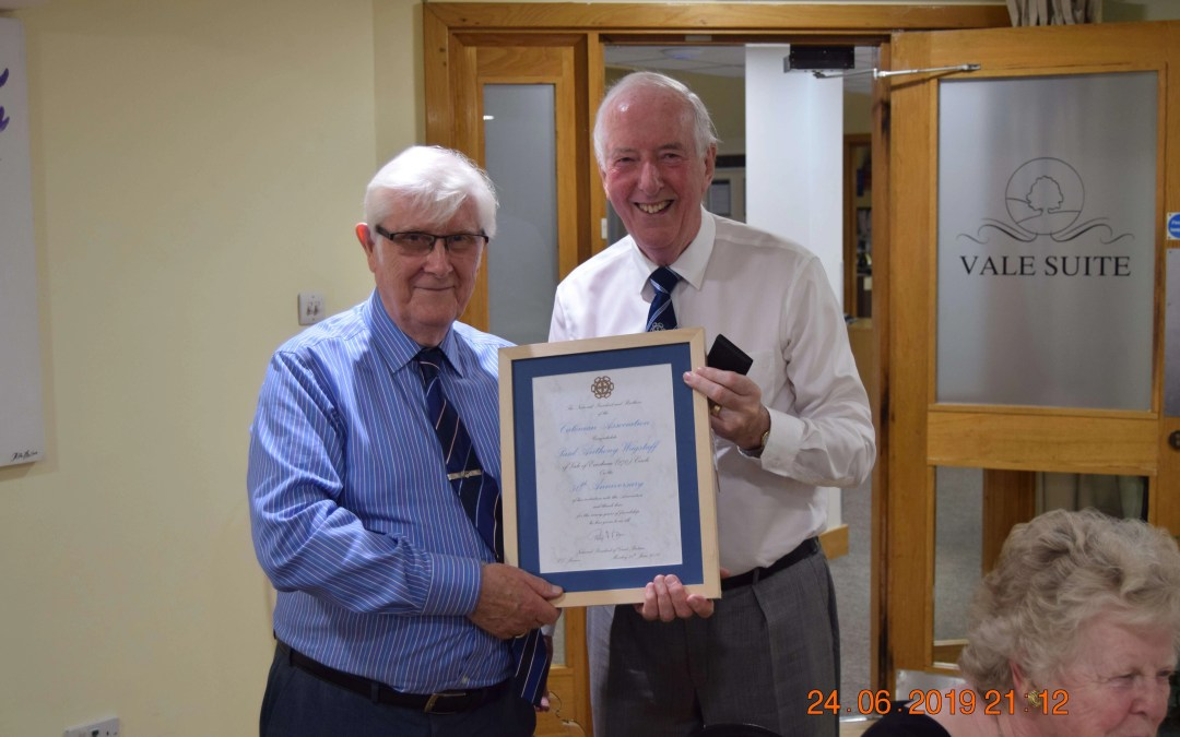 Paul Wagstaff's 50 year Certificate Presentation