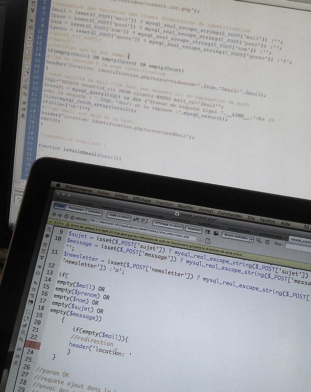 Capture de code sur un des sites de catepeli