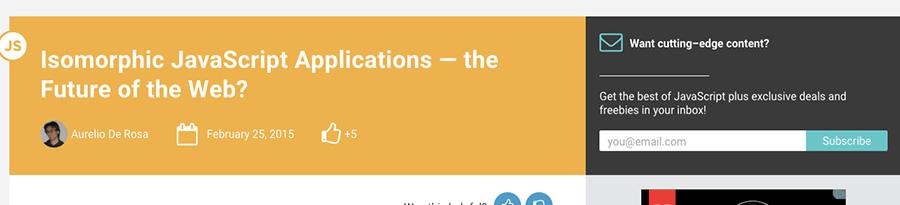Le javaScript isomorphique pour les applications - article retenu sur le blog de Catepeli