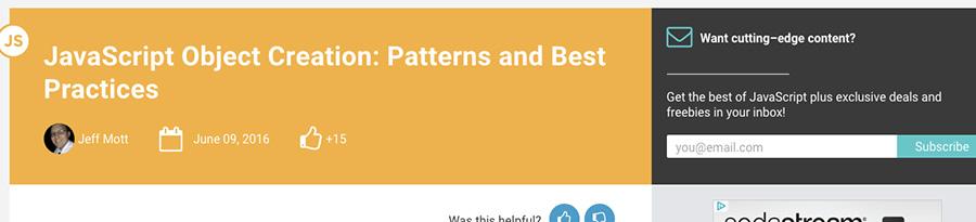 Création d'objet JavaScript, best practices - article retenu sur le blog de Catepeli