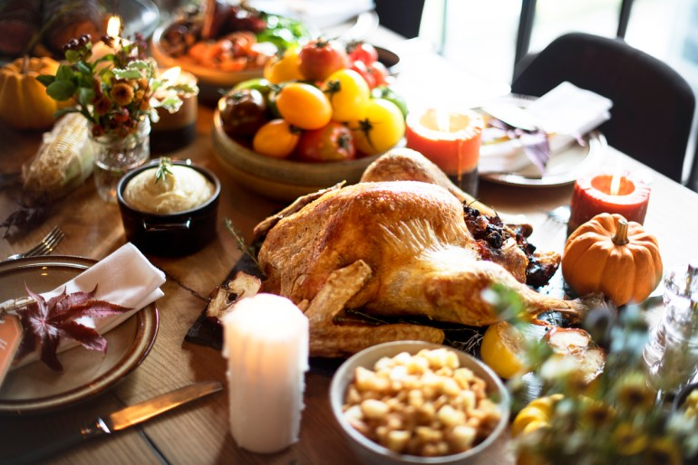 Roasted Turkey Thanksgiving Table Setting Concept