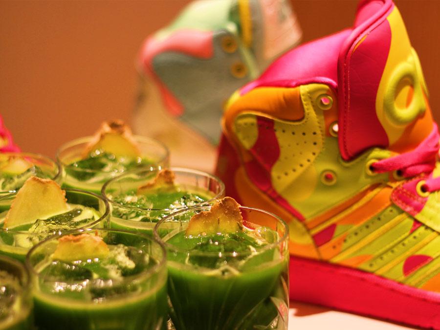 Erfrischende Wheatgras Drinks zum Vegan Catering bei der Paris Fashion Week