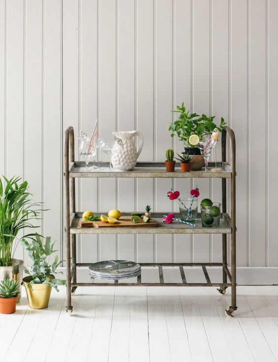 Rose and Grey bar cart