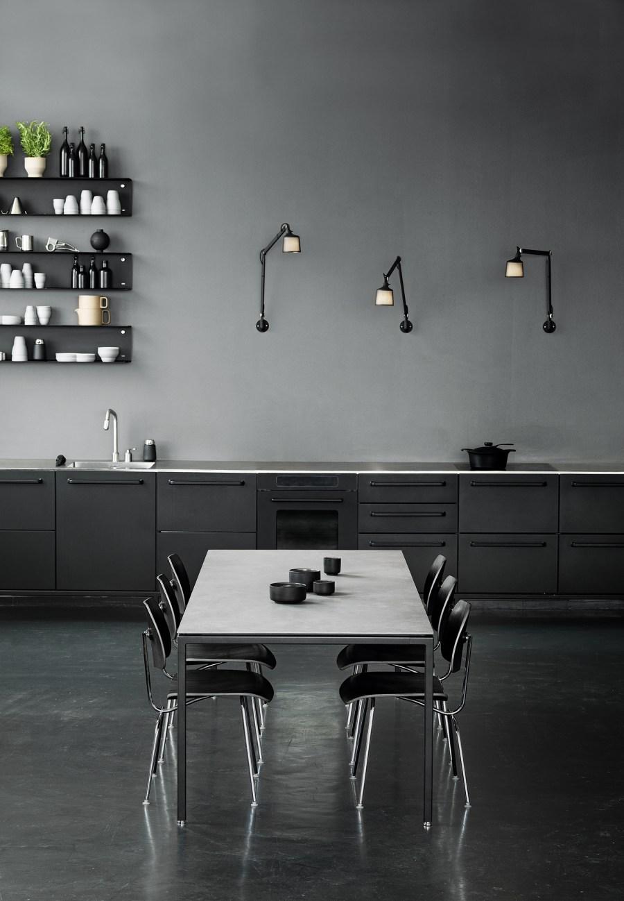 Vipp dining table in a monochrome minimalist interior