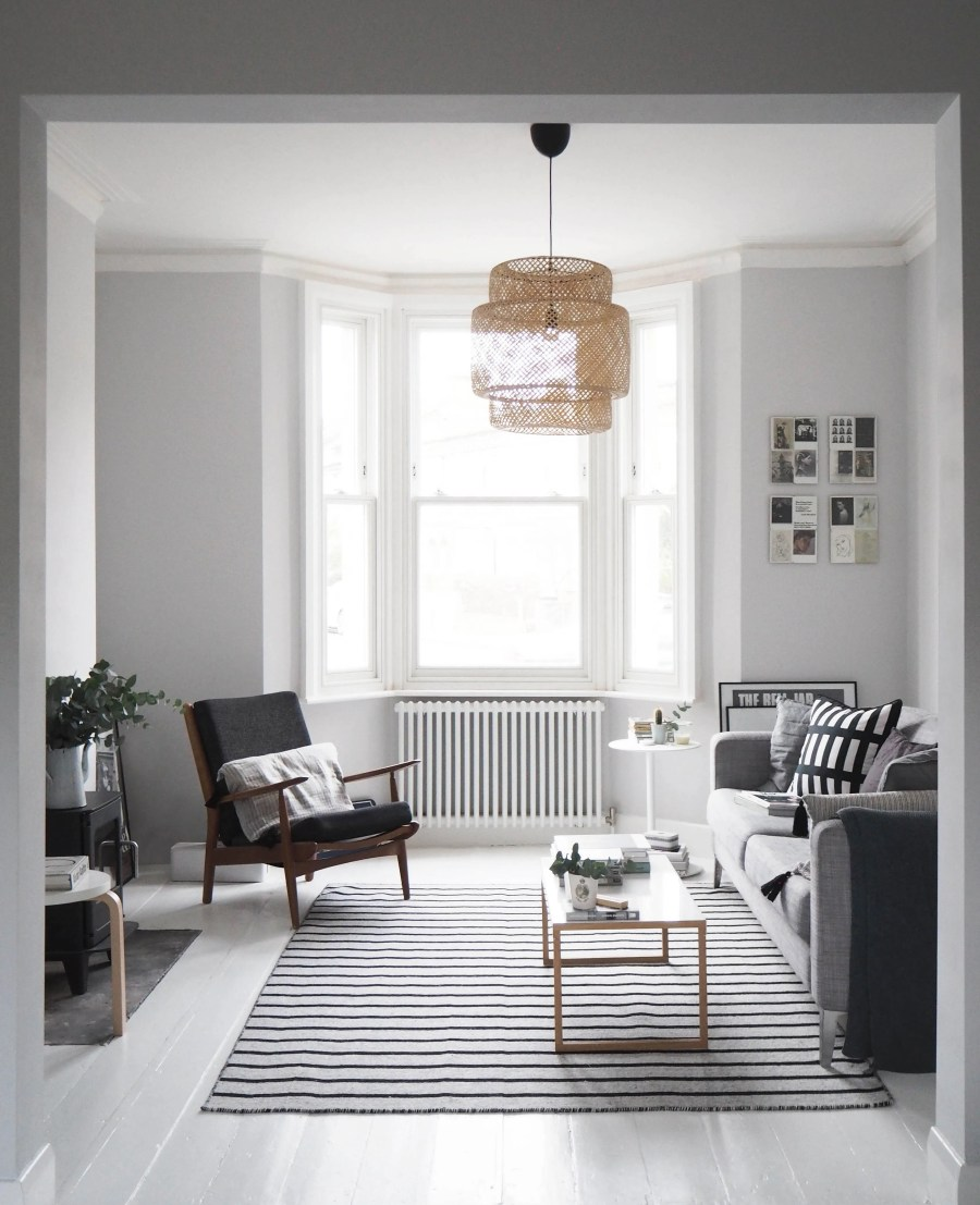 my scandi style living room makeover painted white floors and light grey walls cate st hill. Black Bedroom Furniture Sets. Home Design Ideas