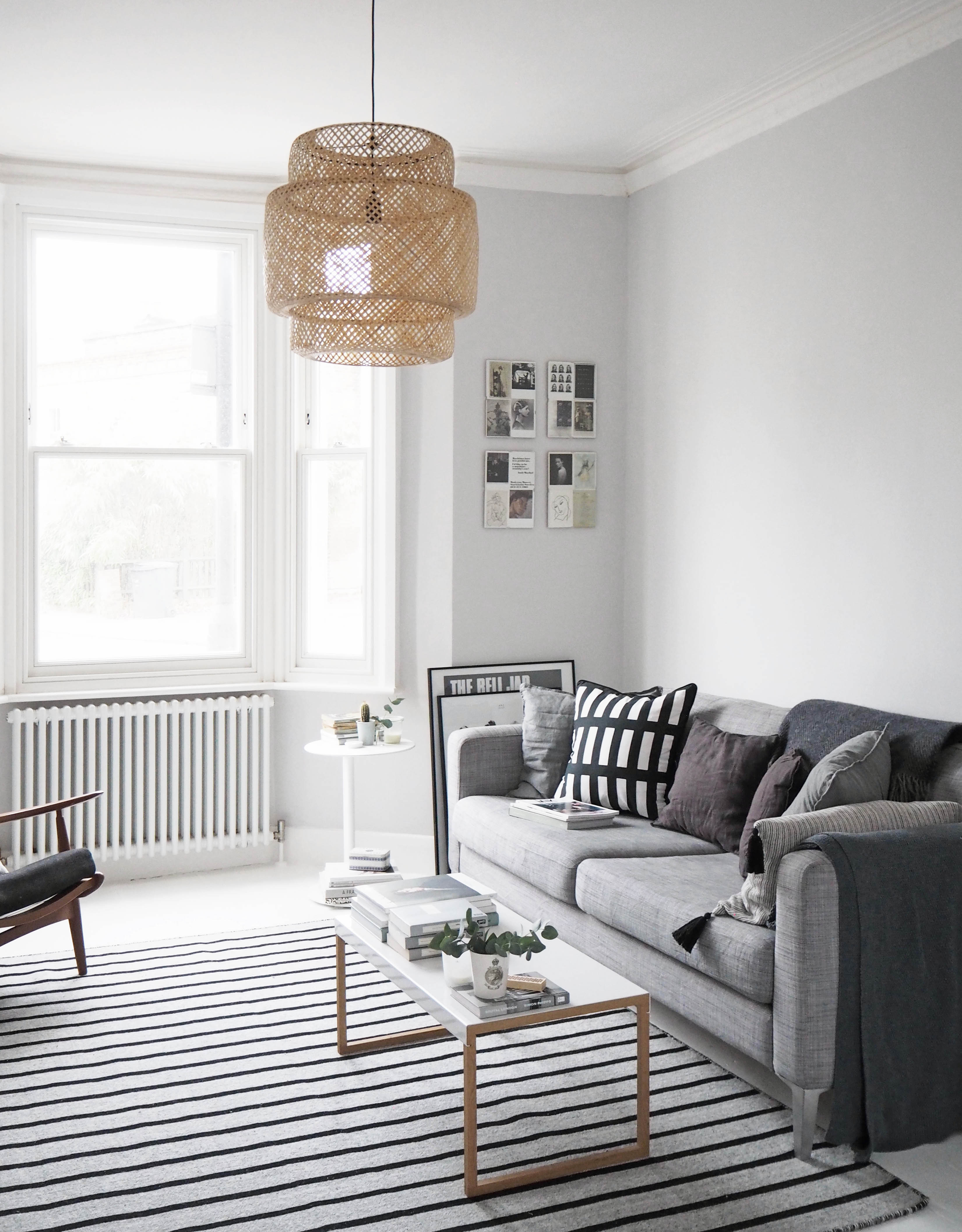 My Scandistyle living room makeover painted white floors and