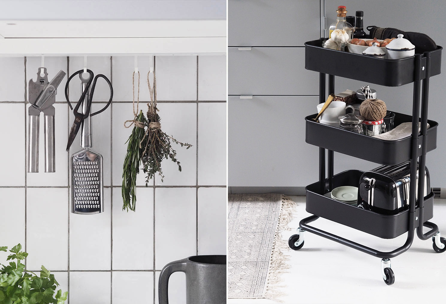 Trolley Keuken Ikea : Little details from utensils hanging from hooks to a trolley for