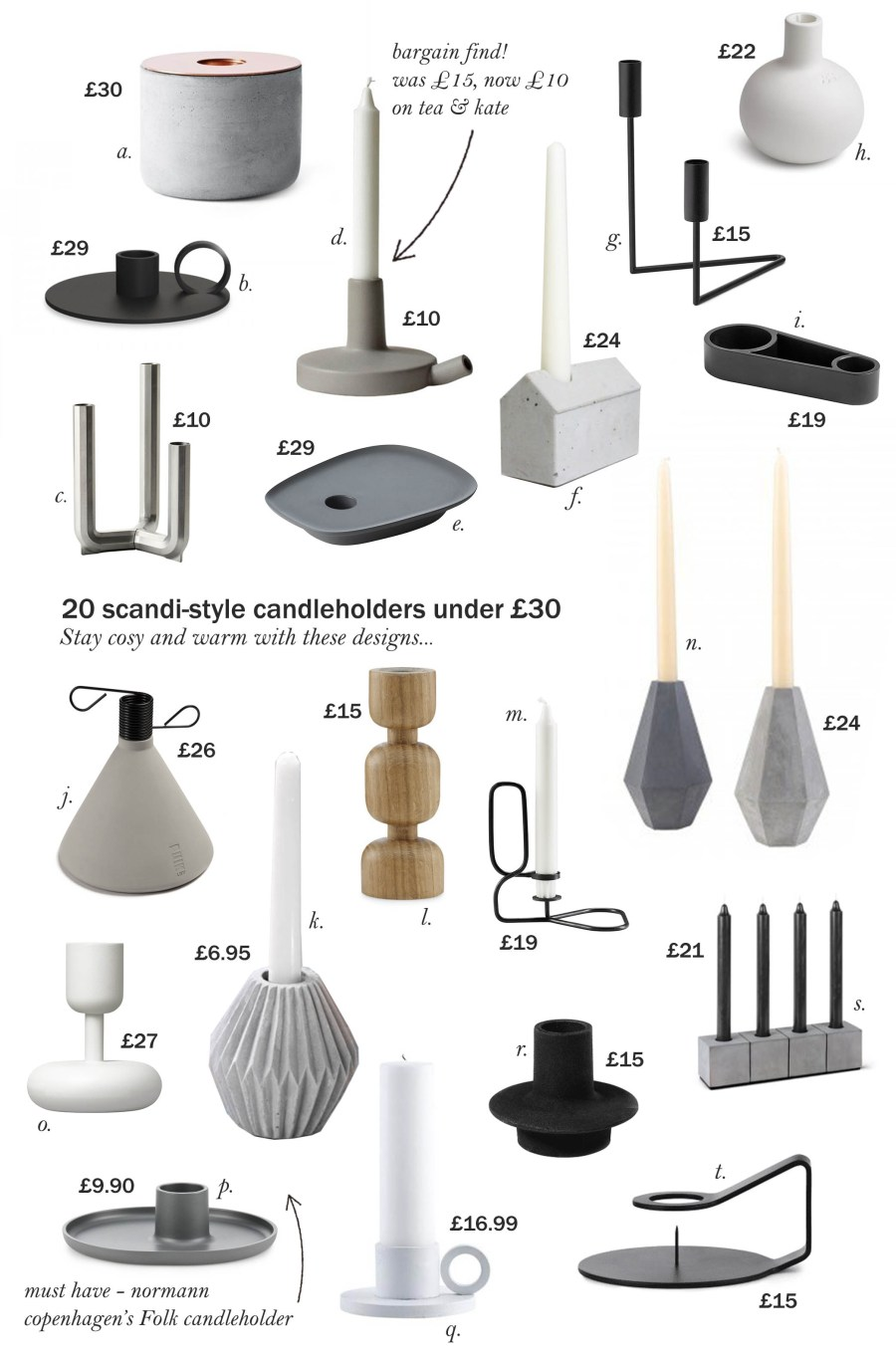 20 scandi-style candlesticks under £30