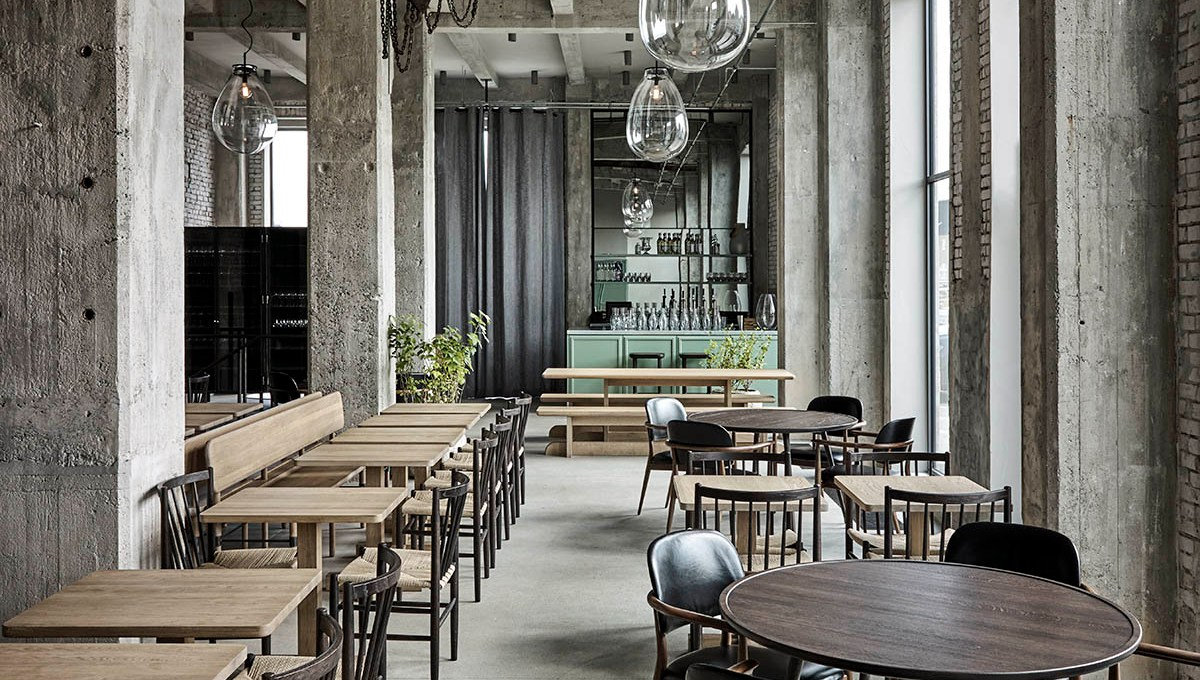 Raw concrete interior at Restaurant 108 by Space Copenhagen - Joachim Wichmann14