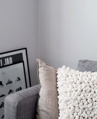 Sustainable cushions and home accessories from Happy + Co - Scandinavian living room - monochrome