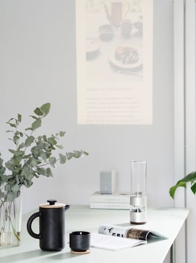 Minimal tech in the home: Sony portable ultra short throw projector and speaker