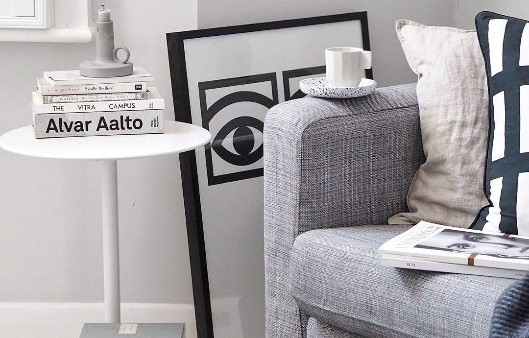 Light scandi living room with a grey IKEA sofa