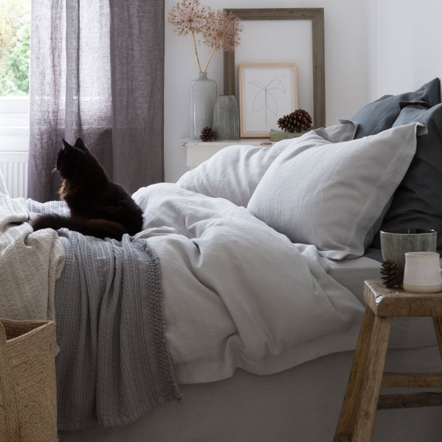 7 best places to buy pure linen bedding - 100% pure French linen, £95 for double duvet cover, £28 for set of two pillowcases, Soak & Sleep