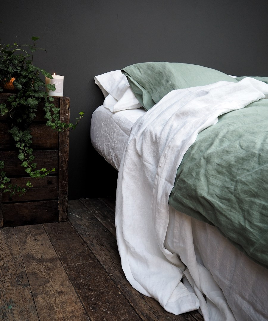 7 best places to buy pure linen bedding - Sage Green linen duvet cover from £138, pillowcases £32 for two, Piglet