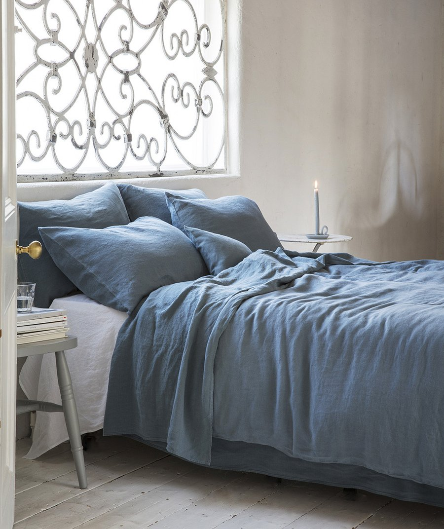 7 best places to buy pure linen bedding - Parisian Blue linen bedding, from £30 for a pillowcase, The Linen Works